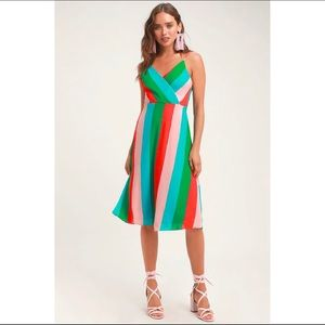 Lulu's Vivacious Veronica Green MultiStriped Dress